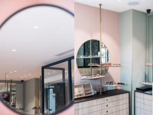 détail du magasin, miroir et présentoir de lunette de marque