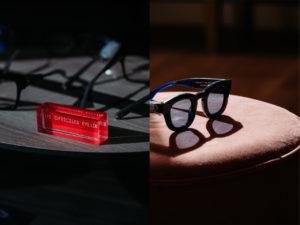 détail du magasin lunettes exposées