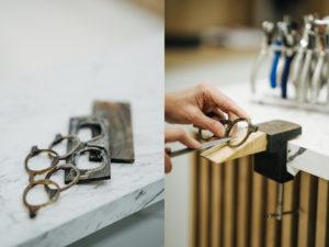 outils et travail de lunetier sur lunettes Opticien Le Labo à Fontainebleau