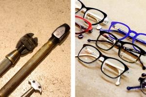 Chez Bonnetain, opticien à nimes, outils et modele de lunette maison
