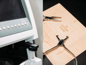 outils de lunetier : ecran d'ajustement et poincons