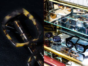 Vitrine opticien lunetier indépendant lunettes sur étagères