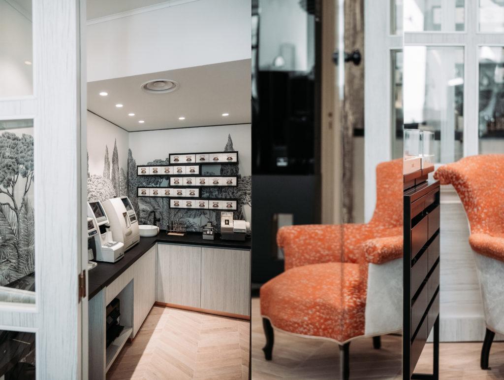 intérieur boutique, local technique, siège de repos