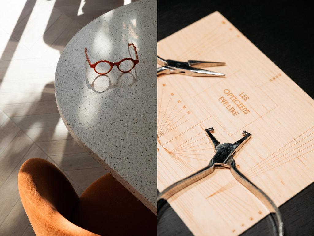 lunettes posées et outils de lunetier