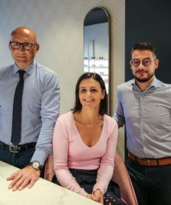 Marie, Franck et Loris opticiens diplomés de la maison Monneret, pour Eye Like