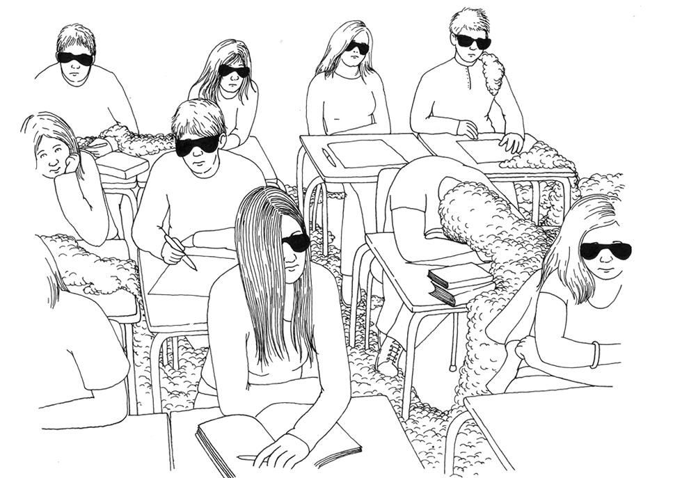 Dessin d'étudiants en classe en lunettes de soleil