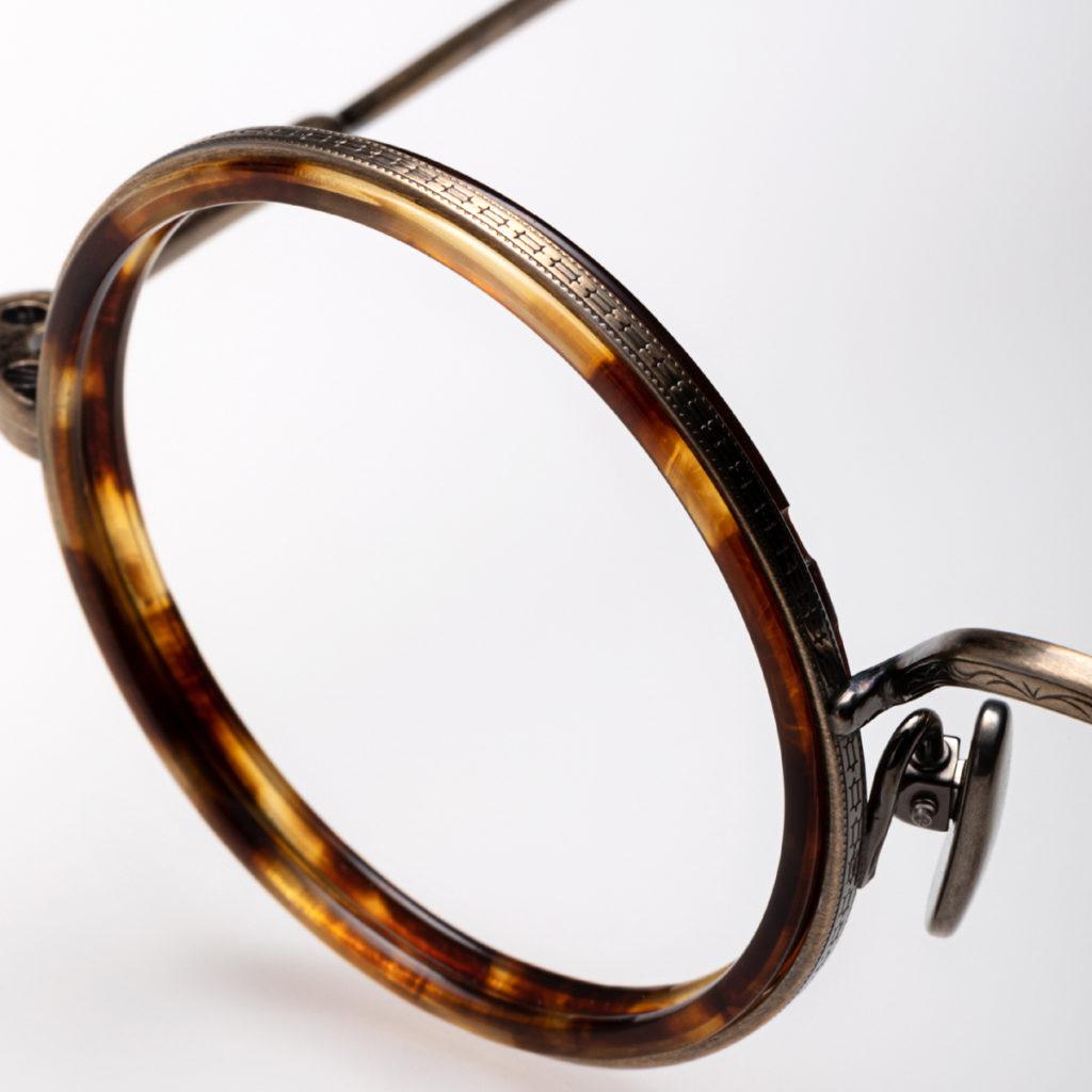 Détail de monture de lunettes Kame Mannen colorées