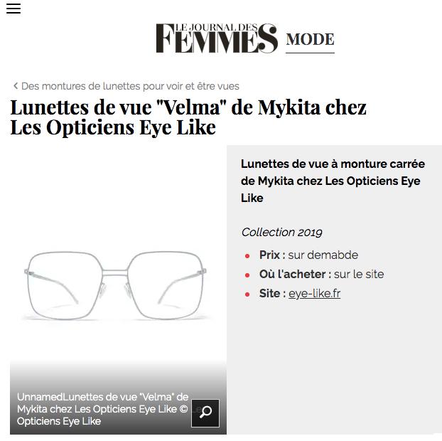 """Parution de l'article """"Lunettes de vue Velma de Mykita chez Les Opticiens Eye Like"""""""