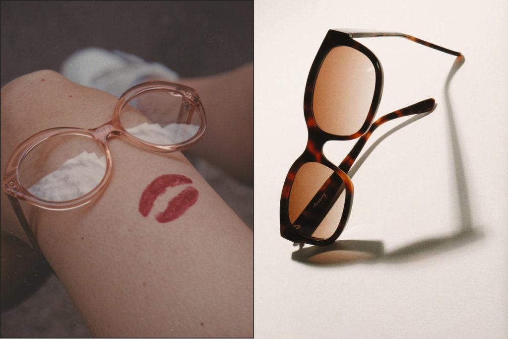 Amaury visuel une paire de lunettes sur une jambes fine et une paire de lunettes de soleilLunettes de marques
