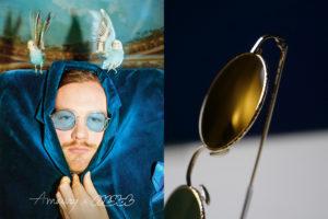 Amaury visuel composition un homme avec des perruches et des lunettes, et une paire de lunettes de soleil Lunettes de marques
